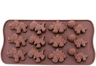12-Cavity Dinosaur Chocolate Candy Mold, Silicone Non-stick Mini Dinosaur DIY Mold for Making Crayons Soap Cake Decoration Jelly Chocolate Gummy Candy Ice Cube
