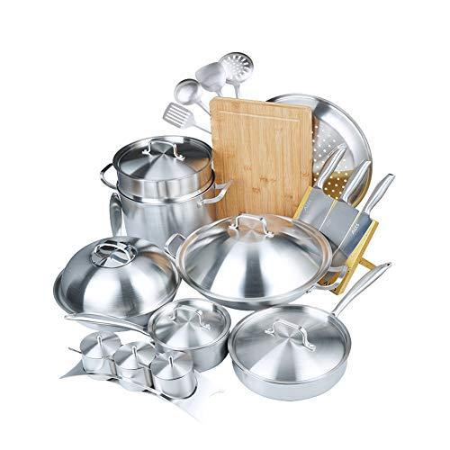 304 Roestvrij stalen pannenset, anti-aanbak, rookvrij, groot kaliber wok combinatie soeppot, stoomboot met roestvrijstalen greep en deksel voor inductie, gas, elektrische en kookplaat
