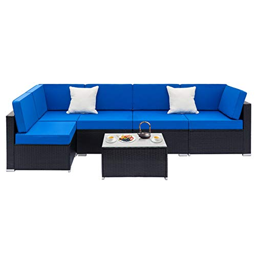 Weaving Rattan Sofa Set with 2pcs Corner Sofas & 3pcs Single Sofas & 1 pcs Coffee Table Black - for Living Room, Modern Contemporary Home Studio Furniture