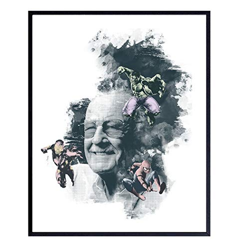 Stan Lee Comics Wall Art, Home Decor, Poster, Print - 8x10 Gift for Comic Book Characters, Superheroes, Superhero Fans – Cool Unique Room Decorations for Men, Teens or Boys – Unframed Picture Photo