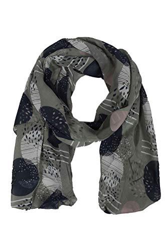 Zwillingsherz Seiden-Tuch im stilvollen Design - Hochwertiger Schal für Damen Mädchen - Halstuch - Umschlagstuch – Pashmina - Loop - weicher Schlauchschal für Frühjahr Sommer Herbst Winter - oliv