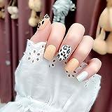 Brishow - Uñas postizas con diseño de leopardo, 24 unidades, para mujeres y niñas