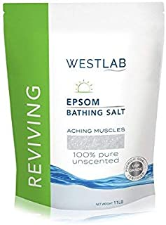Westlab Reviving Pure Unscented Epsom Salt (1 Pack Resealable Bag 11 lb) Natural USP Grade Magnesium Sulfate. Soothes Aching Muscles. Use after Sports and Post-Workout. Foot Soaking & Relaxation