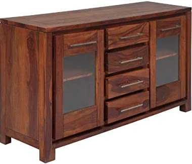Shilpi Handmade Sheesham Wood Expensive Look Door & Drawers Cabinet (Without Glass)