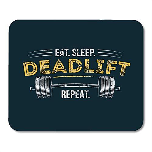 Mousepad Eat Sleep Deadlift Gym Motivierender Zitat-Effekt Und Langhantel-Training Inspirierende Fälle Desktop-Zubehör Gedruckte 25X30Cm Benutzerdefinierte Mauspads Desktops Tisch