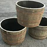 Half Solid oak Whisky barrel planter garden Patio lawn tub flower pot,