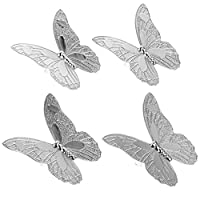 YARNOW 4個蝶ノブヴィンテージキャビネット食器棚ドアノブ装飾ドレッサー引き出し取手ノブハンドルネジで (シルバー)