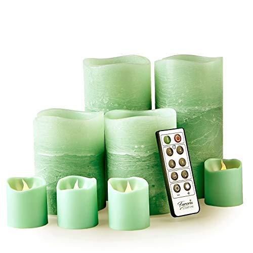 Furora LIGHTING LED Flameless Candles with Remote Control, Set of 8, Real Wax Battery Operated Pillars and Votives LED Candles with Flickering Flame and Timer Featured - Layered Green Preferences