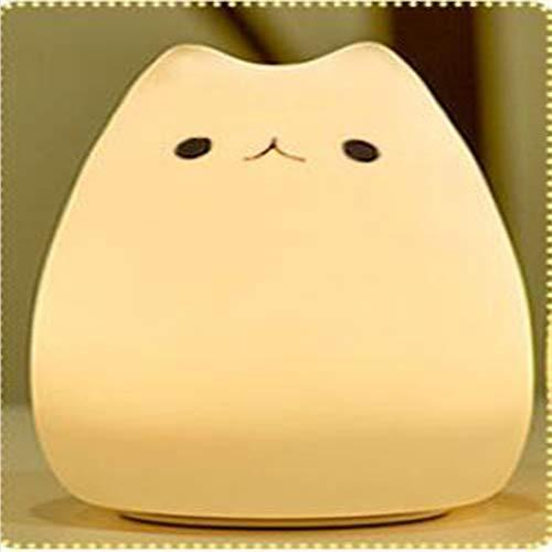 ZJYX Cute Kitty LED Veilleuse pour Enfant, Multicolor Lampe en Silicone Souple, Warm White & 7-Color Respiration Double Modes de Lumière (Multicolore),C