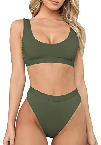 Sovoyontee Women's Green Sexy High Waist Scoop Neck Bikini Swimsuit Bathing Suit S