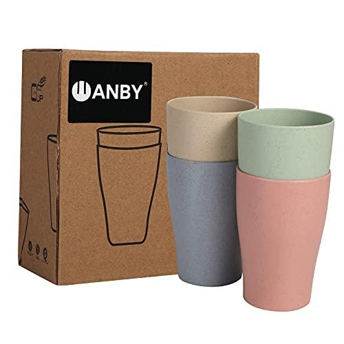 WANBY Juego de 4 tazas de paja de trigo de 300 ml irrompibles y reutilizables de pajita de trigo para beber taza ecológica y saludable para jugos de leche y agua, apto para lavavajillas