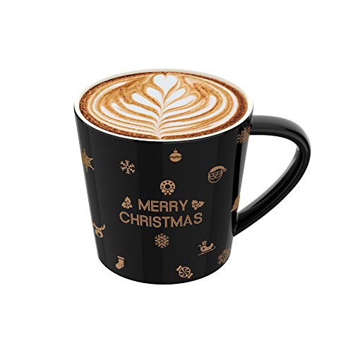 Coffee Mug or Tea Cup, Heat-resistant Large Wide Mouth Hot and cold Beverage Mugs (20oz), Shiny Gold Printed Ceramic Coffee Cups, the best choice for gifts (Christmas Glossy Black)