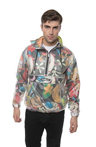 Translucent Nickelodeon Print Jackets for Men Casual, Windbreaker Men, Half Zip Pullover Hooded Jacket (Black, L)