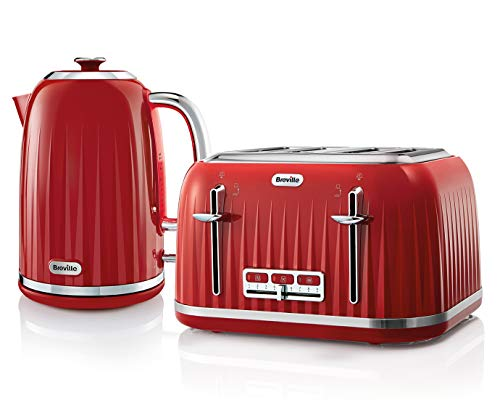Breville Impressions Kettle & Toaster Set with 4 Slice Toaster & Electric Kettle (3 KW Fast Boil), Red