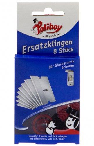 Poliboy Ersatzklingen für Glaskeramik Ceranfeld Schaber, 8 Stück