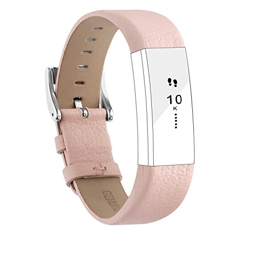 POY Replacement Bands Compatible for Fitbit Alta and Fitbit Alta HR, Genuine Leather Wristbands, Pink