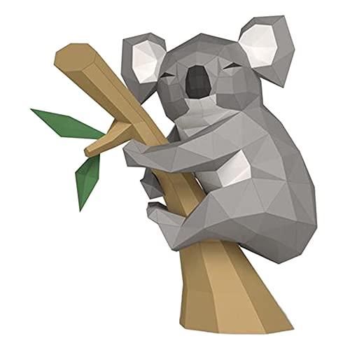 WLL-DP Pequeño Koala En El Árbol DIY Papel De Juguete Escultura De Papel Rompecabezas De Origami Hecho A Mano Modelo De Papel 3D Arte Decoración del Hogar Artesanía De Papel Geométrica