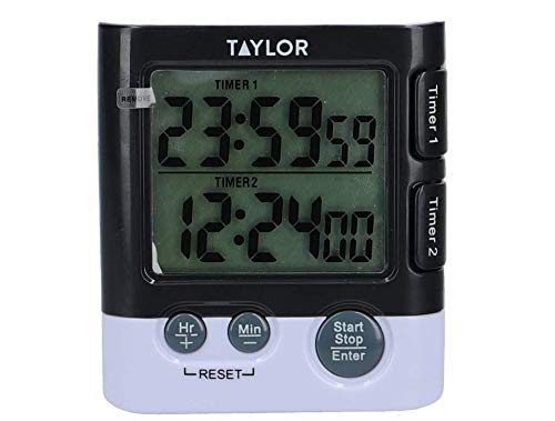 Taylor TYTIM24DUAL Dual Kitchen Timer And Digital Clock, Plastic
