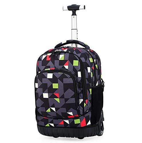 SBFYLD Hoge capaciteit Lichtgewicht Rolling Rugzak, 18 Inch Travel Wheeled Laptop Rugzak voor Vrouwen Mannen, Carry On Trolley Bagage koffer Zakelijke Tas, Fit 15.6 Inch Laptop