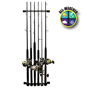 Rush Creek Creations 3 in 1 All Weather 6 Fishing Rod/Pole Storage Wall/Ceiling Rack - Innovative Expansion Capabiltiy