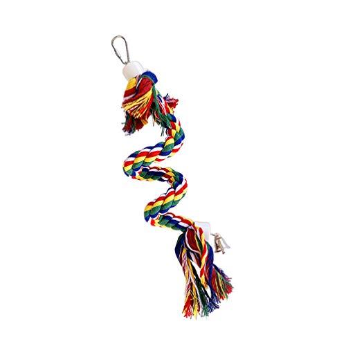 POPETPOP Cuerda de Pájaro Perche Cuerda de Algodón Puenting Pájaro Juguete Loro Jaula Juguete de Mascar Columpio Colgante 0. 5M