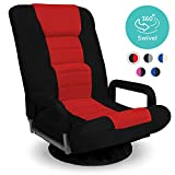 Best Choice Products Multipurpose 360-Degree Swivel Gaming Floor Chair for TV, Reading, Playing w/Lumbar Support, Armrest Handles, Foldable Adjustable Backrest, Machine Washable - Red/Black