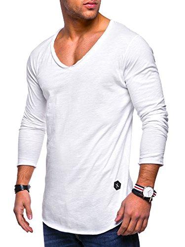 Rello & Reese Herren Oversize Longsleeve V-Neck Rundhals Sweatshirt MT-7314 [Weiß, XXL]