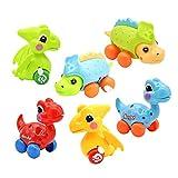 Dinosaur Toys for 2 3 4 5 6 Year Old Boys Girls, Easter Basket Stuffers, Stocking Stuffers for Kids, 6-Pack Dinosaur Cars Wind-up Toys for Kids Party Favors, Easter Birthday Gift - Random Color