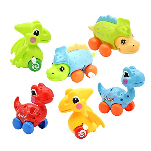 DIDUBUY Dinosaur Toys for 2-3 Year Old Kids, Stocking Stuffers, 6-Pack Dinosaur Cars Wind-up Toys for Kids Party Favors,Birthday Party Supplies Favors-Random Color