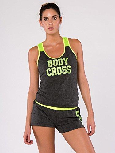 BODYCROSS Débardeur Femme Charcoal/Jaune Fluo Training, Lifestyle - Polyester/Coton/Spandex - Coupe Normale, Bretelle en Satin, Logo Brodé Large