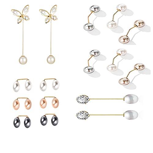 16 piezas de broche de perlas de imitación, broche de chal de suéter, imperdible, accesorio de broche de perlas retro, juego de broches de dama (4 estilos)