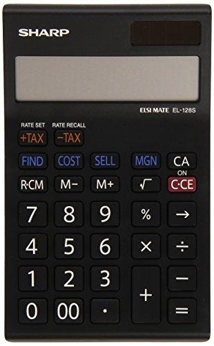 Sharp Electronics EL128SWH - Calcolatrice a 12 cifre, calcolo costo-vendita-margine, bianco/nero