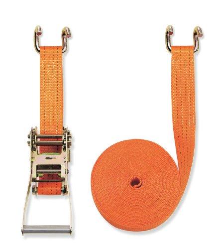 Braun Sangle d'arrimage 2 pièces à cliquet et crochets bord de rive 4000 daN Orange 8 m x 50 mm