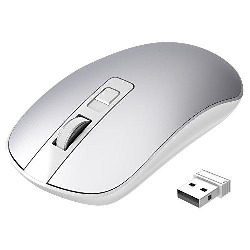 TOPELEK Laptop Maus, PC Maus Optical Business Mouse Schnurlos Computer Wireless 2.4G Intelligente Drahtlose Mäuse Geräuschlose Klicken, dünn und tragbar, geeignet Silver