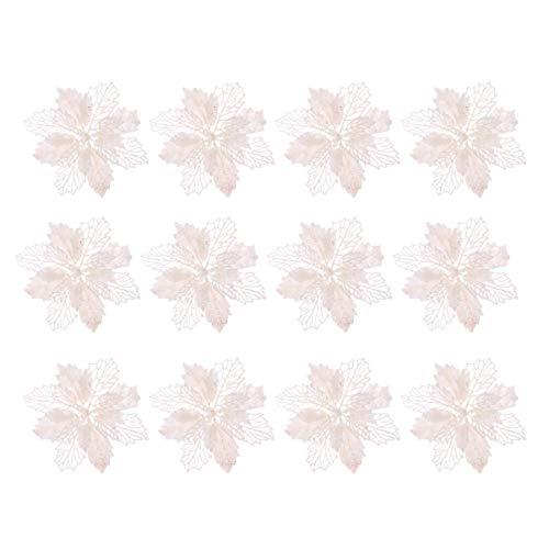 STOBOK 12 Piezas Flores de Pascua de Navidad Flores Poinsettias de Brillo Decoraciones para árboles de Navidad Adornos DIY Flores Artificiales Blancas