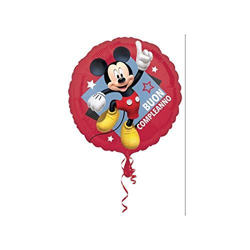 Dream' S Party Pallone Palloncino Foil Mylar Topolino Mickey Mouse Buon Compleanno - 43 Cm - Gonfiabile Ad Aria O Ad Elio - Fornito Sgonfio