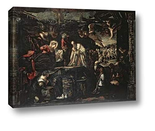 """Adoration of The Magi by Jacopo Tintoretto - 19"""" x 24"""" Canvas Art Print Gallery Wrapped - Ready to Hang"""