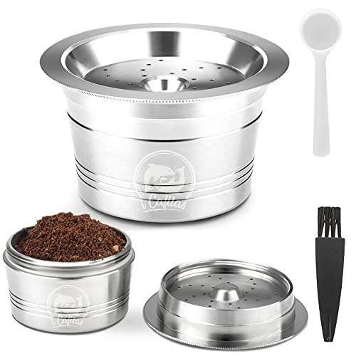 ALLOMN Cápsula de Café Reutilizable, Cápsula de Acero Inoxidable para K-Fee Caffitaly Cafissmo con Cepillo de Plástico para Limpieza