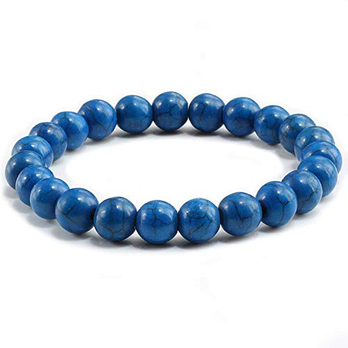 YLA Schwarzes Naturstein-Armband für Herren, Charms, blau-weiß-transparente Perlen-Armbänder für Frauen, Yoga, Buddha-Kette, Armreif, Schmuck dunkelblau