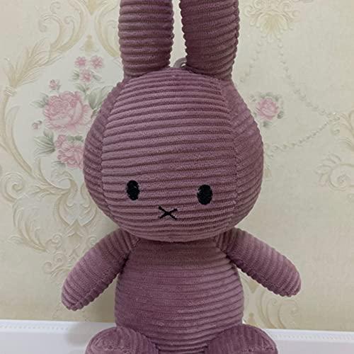 Muñeco de Peluche de Conejo Miffy a Rayas Retro, muñeca Relajante para bebés, muñeca de Trapo de Conejito, Regalo de decoración de cumpleaños para niña, Color de Pasta de Frijol, 30 cm