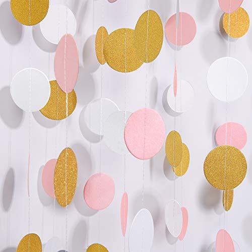 Guirlande de papier MerryNine, 5 Pack 50ft Glitter Paper Garland Circle Dots Hanging Decor, Anniversaire, Décor de fête de pépinière (Circle Polka Dots-Pink White Gold-50 Feet)