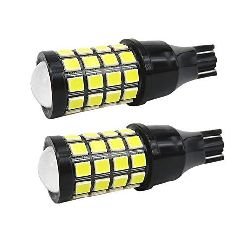 Wljh 2 x Plus récente 9-30V Super Bright 1000LM T15 W16W 912 921 ampoule LED Voiture sauvegarde inversée lampe Signal Marker Upper Feu stop lampe de brouillard ampoules Vidéoprojecteur Len Blanc 6500K