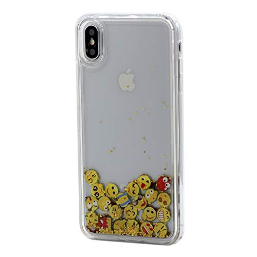 Keyihan Cover per iPhone XS e iPhone X Glitter Liquido Custodia Antiurto Trasparente Disegni Brillantini Paillettes Protettiva Case Rigida con Morbida Silicone Paraurti 5.8  (Icone Emoji)