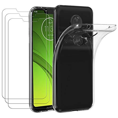 ivoler Hülle für Motorola Moto G7 Power + [3 Stück] Panzerglas, Durchsichtig Handyhülle Transparent Silikon TPU Schutzhülle Hülle Cover Premium 9H Hartglas Schutzfolie Glas für Motorola Moto G7 Power