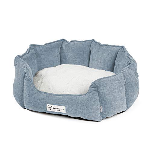 JAMAXX Oval-Rundes Hunde-Körbchen, Kuschelig mit Flauschigem Wendekissen Fell, Hunde-Bett...