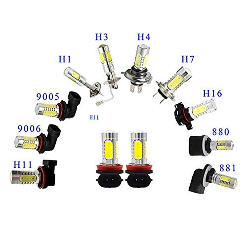 ZXB GQLONG 2pcs 880 881 H27 Alta Potencia 7.5W H1 H3 H7 LED Fog Fog Light Blanco Amarillo H8 H11 9005 HB3 9006 HB4 COB Auto Fog LÁMPARA (Emitting Color : White, Socket Type : H27/881)