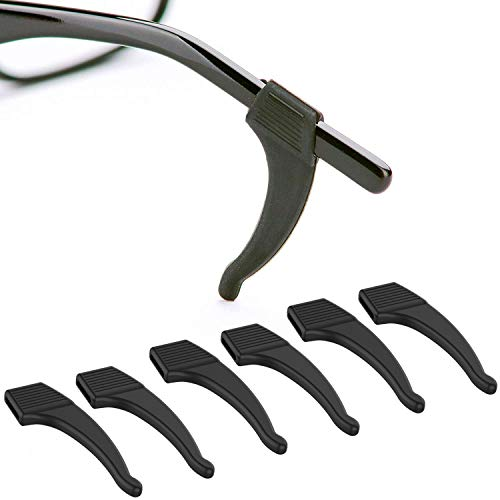 Anti-Slip Glasses Ear Hook Grip - 3 Pack - Stretch Fit for Sunglasses and Glasses (Black)