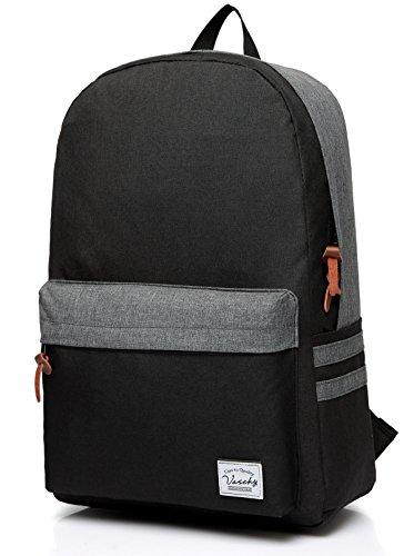 Vaschy Lightweight School Backpack Water Resistant Rucksack Casual Daypack for 15in Laptop, Black