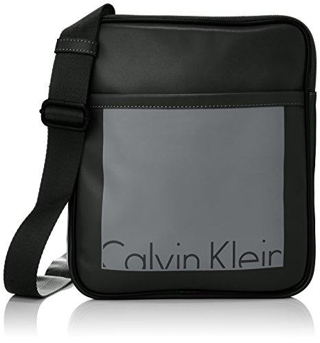 Calvin Klein Jeans Herren Cruise Flat Crossover Umhängetaschen, Schwarz (Black/Castlerock 910), 27x30x4 cm