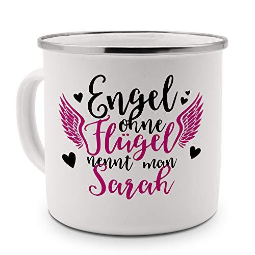 printplanet - Emaille-Tasse mit Namen Sarah - Metallbecher mit Design Engel - Nostalgie-Becher, Camping-Tasse, Blechtasse, Farbe Silber, 400ml